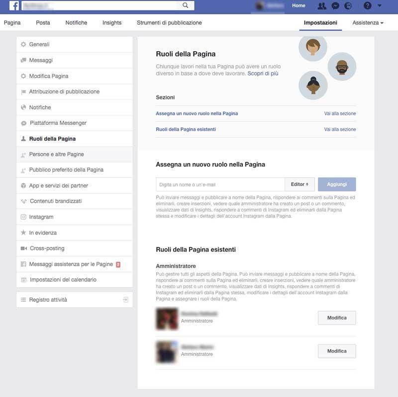 Aggiungere un'Amministratore alla Pagina Facebook