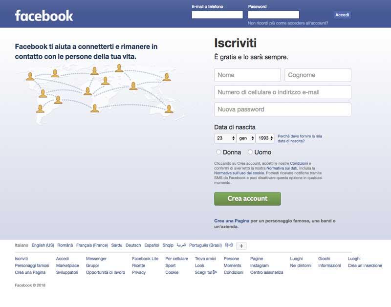 Facebook accedi subito