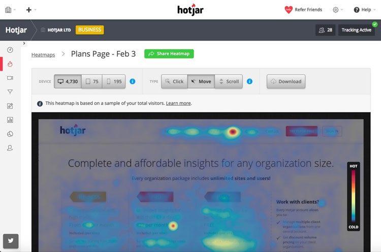 heatmap per il proprio sito