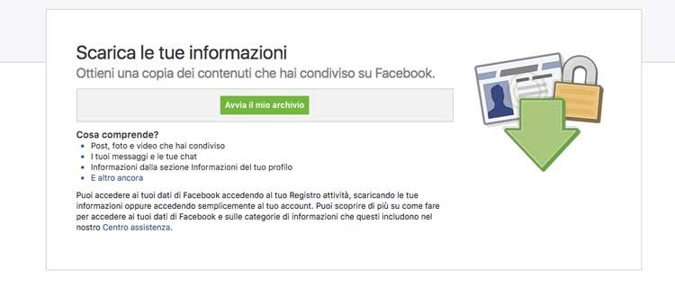 scaricare informazioni da facebook